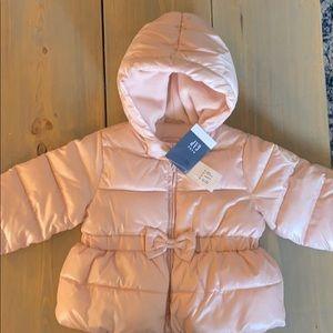 Infant pink puffer coat- feminine details BNW